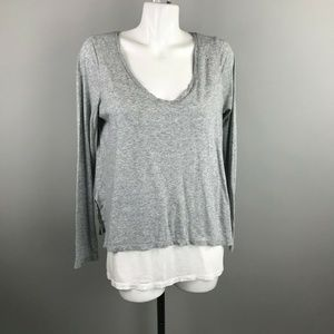 Vince Gray White Long Sleeve Double Layer V-Neck